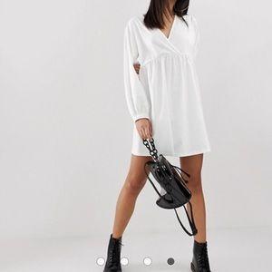ASOS long sleeve wrap front mini smock dress